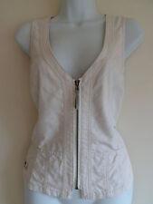 Zip Hip Length Cotton Blend Casual Waistcoats for Women