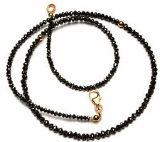 """Super Quality Natural Black Diamond 2.3 to 3.2MM Rondelle Beads Necklace 16"""""""