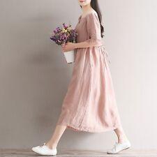 Damen Leinen kurzärmlig Rundhals Imperium Hüfte pink Kleid Freizeit Retro