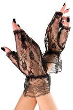 Mitaines courtes gants sans doigts dentelle noire sexy original originales rétro
