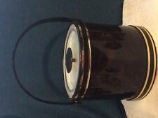 Vintage Georges Briard Tortoise Brown Vinyl Ice Bucket + Acrylic Lid Mid Century