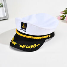 New listing Sailor Ship Boat Captain Hat Navy Marins Admiral Adjustable Cap White