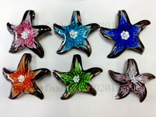 Wholesale Lots 12Ps Starfish Flower Lampwork Murano Glass Pendants Fit Necklace