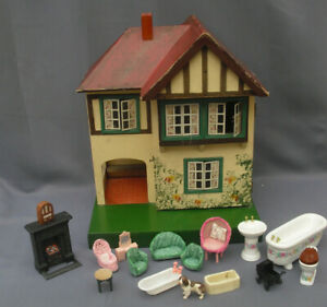 Tri-ang 1930s style half timbered doll's house mock tudor + 16 x furniture etc