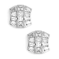14K Solid White Gold 10MM Cubic Zircon Fashion Stud Earrings Push Back ER-PEW36