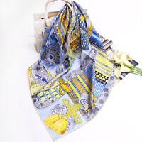 Fashion Luxury 100% Silk Scarf Samurai Armor Print Shawl Twill Hijab Stole 90cm