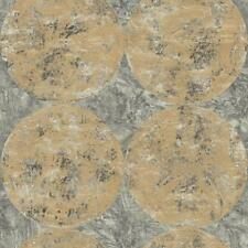 Wallpaper Designer Gold Circles on Silver and Black Faux