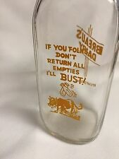Breau's Dairy Square Qt Milk Bottle with Cow in Orange Paint From Rumford, Maine