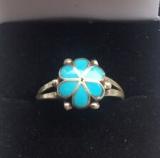 LADIES SOLID SILVER & TURQUOISE ENAMELED FORGET ME NOT FLOWER RING. size 8.5