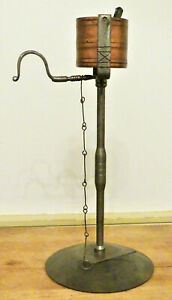 Reproduction 19th C. PA DECRATED WROUGHT IRON COPPER KETTLE LAMP FISHER FORGE