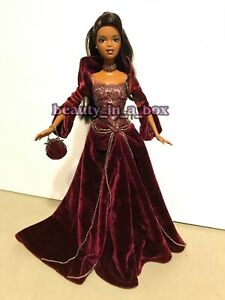 2004 Holiday Barbie Doll African American AA Collector Red Burgundy Gown Display