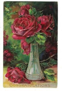 CONGRATULATIONS VTG PC GOLD ACCENTS GORGEOUS ROSES IN GLASS VASE VIBRANT COLORS