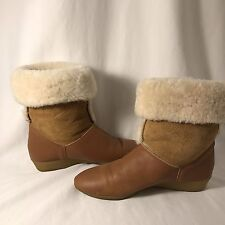 Vintage GH Bass  6M Slip On Fuzzy Ankle Boots Leather Upper Crepe Soles Brown