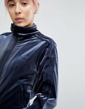 Med adidas Originals Women's Luxe Velvet Firebird Track Top Jacket Blue Last1