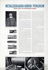 Metallschlauch Fabrik Pforzheim XL Reklame 1956 Witzenmann Werbung Historie ad