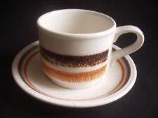 BILTONS -STAFFORDSHIRE -CUP & SAUCER -CREAM WITH BROWN & ORANGE BANDS -RETRO