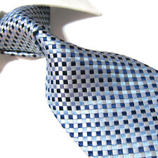 XL 100% Silk woven jacquard Tie,Silver/Blue Check Mens Necktie SW3223 Extra Long