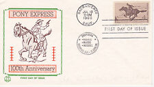 FDC FIRST DAY COVER 1960 PONEY EXPRESS 100TH ANNIVERSARY TRI COLOR CACHET