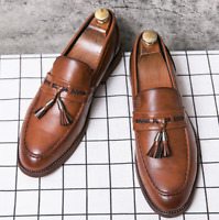 Men Vintage Style Tassel Casual Loafers Faux Leather Lined Slip on Shoes Leisure