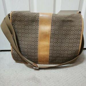 COACH F77004 Tan Leather Signature Travel Crossbody Messenger Bag Laptop Canvas