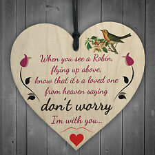 Robins Are Loved Ones From Heaven Hanging Wooden Heart Plaque Memorial Sign
