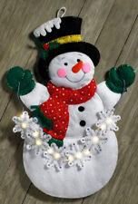 Bucilla Snowflake Snowman ~ Felt Christmas Wall Hanging Kit #86820 Frosty Lights