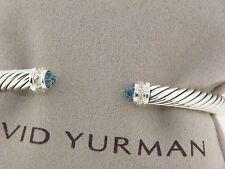 DAVID YURMAN 5MM CABLE CLASSICS BRACELET BLUE TOPAZ AND DIAMONDS NEW
