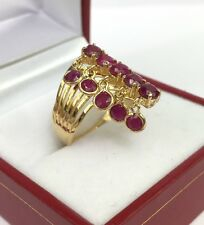 14k Solid Yellow Gold Cute One Row Moving Ring Natural Ruby 2.0 TCW, Sz 7.75