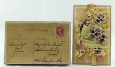 RARE ANTIQUE CELLULOID AND PLUSH BIRD FLOWER POSTCARD IN MAILING BOX