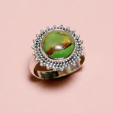 925 Sterling Silver Ring Sz US 8.5, Green Copper Turquoise Gemstone 4.6 gm DJ223