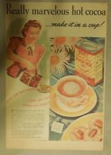 Kraft  Cocoa Ad: Really Marvelous Hot Cocoa! 1940's 11  x 15 inches