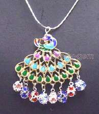 "Fashion 40mm Multicolor Peafowl Pendant 5mm multicolor crystal 17"" necklace-5884"