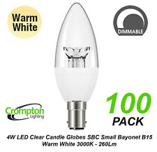 5 X 4w Dimmable LED Clear Candle Light Globes Bulbs Warm B15 Small Bayonet