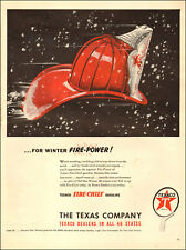 1947 vintage AD TEXACO Fire Chief Gasoline Art Fireman's helmet blizzard  041518