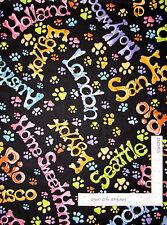 "Loralie Harris Dog Gone Travel Black Cotton Fabric STRIP 16"" Wide X 11 Yards"