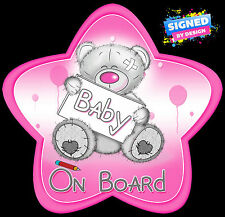 Non Personalised Baby Lovememuch Bear Pink Star Shaped Baby On Board Car Sign