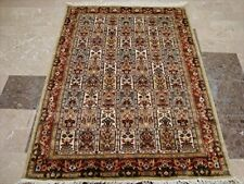 Bakhtiari Floral Blocks Exotic Area Rug Hand Knotted Wool Silk Carpet (6 x 4)'