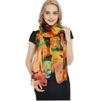 "Women 100% Silk Long 68""L44""W Scarf Shawl Flroal Print Super Soft Xmas Gift New"