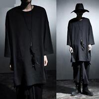 Hot Men Gothic Stylish Long Coat Cape Punk Asymmetric Hooded Cloak Shirts Black