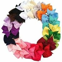 20pcs Big Hair Bows Boutique Girls Alligator Clip Grosgrain Ribbon Headband R9E6