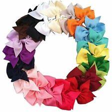 20pcs Big Hair Bows Boutique Girls Alligator Clip Grosgrain Ribbon Headband R9E6