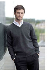Mens Henbury Lambswool Knitted Full Sleeves Jumper Sweater Top V Neck Golf HB730