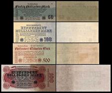 50 Mrd - 100 Billionen Mark 4 Reichsbanknoten 25.10.1923 - 9.Ausgabe P125-P128
