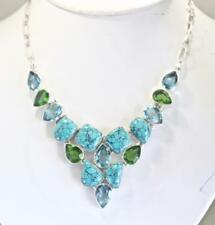 62 GRAM TURQUOISE, PERIDOT, BLUE TOPAZ LARGE STERLING SILVER NECKLACE 17 INCH