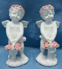 More details for pair of guardian angel figurine cherubs with flowers statue ornament sculpture