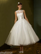 Short Tea Length Lace White/Ivory Formal Wedding Dress Party Ball Gown Size 6-18