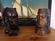 SUPERBES GRANDES Statues BUSTES COUPLE AFRICAIN DU NIGERIA.