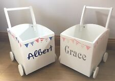 Kids Push Trolley Wooden Baby Walker Storage Toy Box Personalised