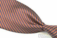 "STEFANO RICCI Bronze Blue Dot Striped 100% Silk Mens Luxury Tie - 4.00"""