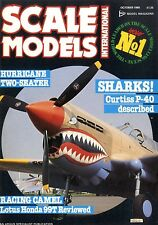 SCALE MODELS MAGAZINE 1988 OCT SHARKS CURTISS P-40, LOTUS HONDA 99T, HURRICANE
